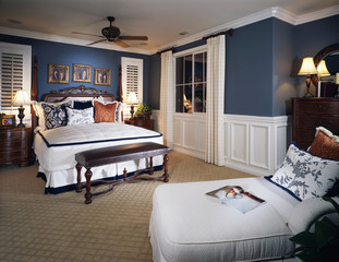 Traditional Style Bedroom with Wainscoting