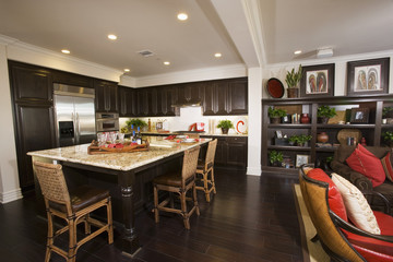 Dark Wood Kitchen and Family Room