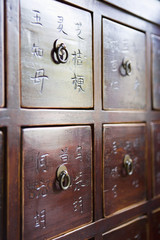 Wooden Storage Chest with Chinese Characters