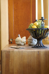 Dish and Candle Holder with Ceramic Hens