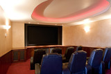 Home Theater with Leather Theater Seats