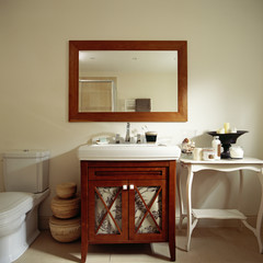 Framed Wooden Mirror Above Sink