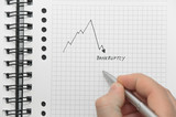 Hand writing graph pointing to bankruptcy on white notebook
