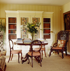 Bookshelves and Table in Traditional Study