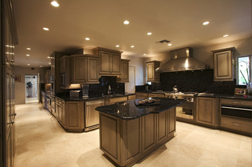 Spotlights lit up an exquisite kitchen