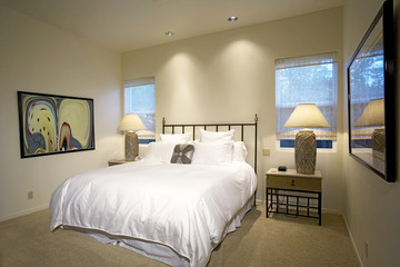 A bed is centrally placed in a cozy bedroom