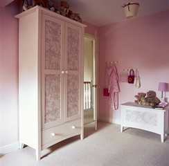 Matching Wardrobe and Hutch in Pink Room