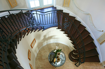 High angle view of a table near a staircase