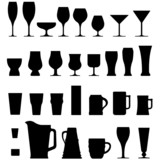 Fototapety Vector set of alcohol glasses and mugs