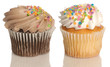 chocolate and vanilla cupcake with colorful sprinkles