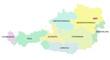 Österreich - Karte der Bundesländer, farbig