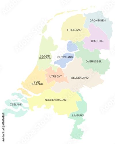 Karte der Niederlande, farbig