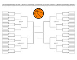 Blank college basketball tournament bracket poster