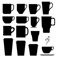 Vector set of coffee and tea mugs and cups