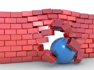 Obstacle negotiation concept. Hi-res 3d rendering.