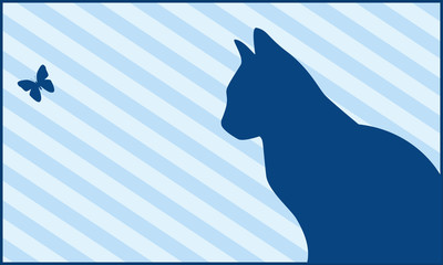 Silhouettes of a cat and the butterfly on  striped background