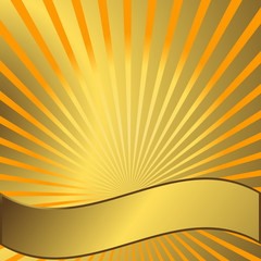 Yellow solar background with golden beams
