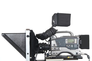 Professional video camera isolated on white