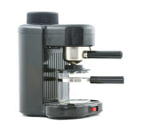 Common espresso machine appliance with glass carafe. poster
