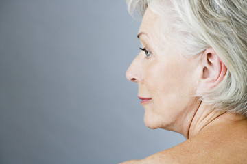 A senior woman's face in profile