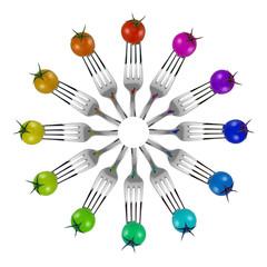 cerchio di pomodori con forchette