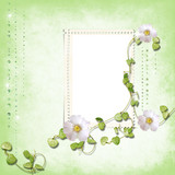 Spring frame with brilliant rain poster
