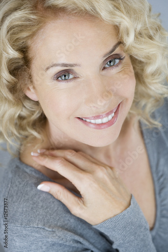 A portrait of an attractive middle-aged woman