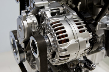 Closeup of an internal combustion engine