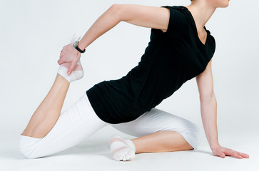 Female yoga doing exercises