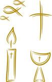 Vierteiliges Set: Religion (Kreuz, Kerze, Fisch, Kelch) poster