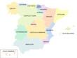 Spanien - Karte der autonomen Regionen, farbig
