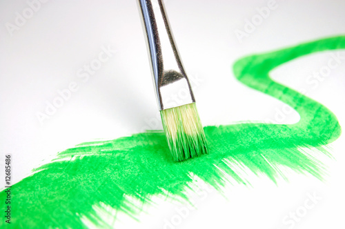 paintbrush and painted brush stroke isolated