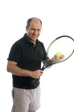 active senior man playing tennis with beer belly poster