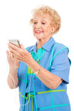 Senior Woman with Multi-Media Player poster
