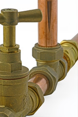 close up with blur plumbing fittings