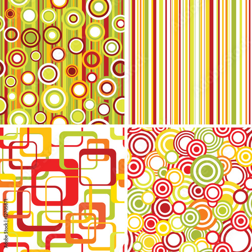 Set of retro seamless pattern backgrounds