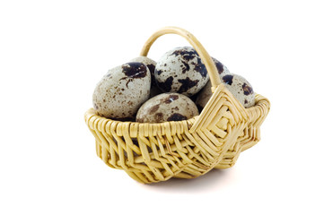 Has sung eggs in a basket, on a white background
