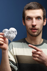 guy with paper heart