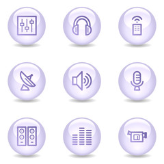 Media web icons, glossy pearl series