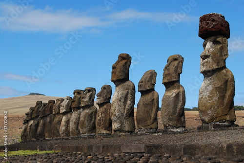 Side View of Moai at Tongariki