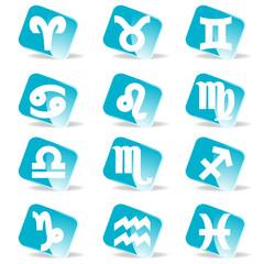 glossy zodiac signs vector icon set