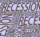 continuous wording recession design poster