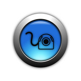 aqua blue webcam button with metalic ring poster