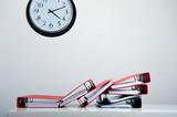 Clock, folders and deadline poster