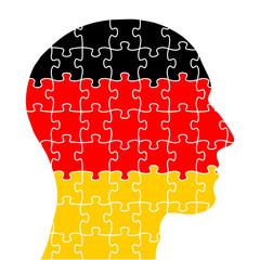 kopf-puzzle in schwarz-rot-gold