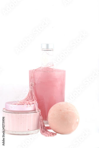 bath foam and natural soap isolated