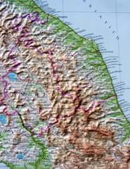 Carta geografica di Umbria e Marche