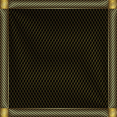 Trellised silvery and golden  frame (vector)