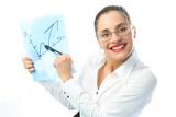 businesswoman showing a scheme poster