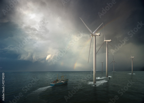 Windmill in ocean